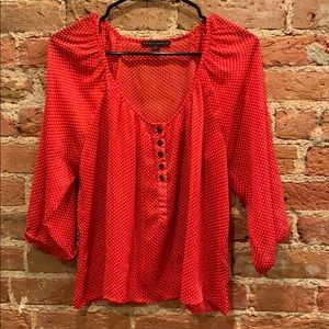 Lucca Couture Size S Women's Red Polka Dot Blouse